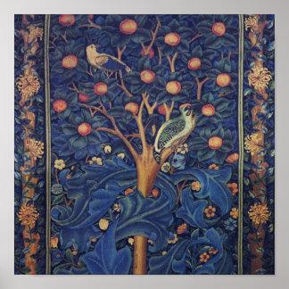 Vintage Tapestry Birds Floral Design Woodpecker Poster