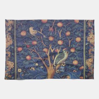Vintage Tapestry Birds Floral Design Woodpecker Tea Towel