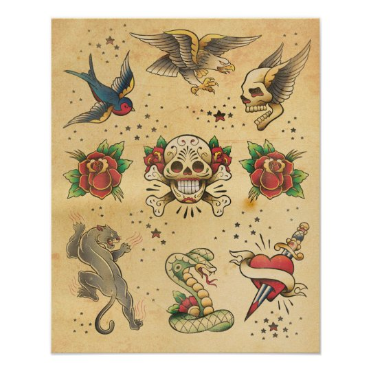 Vintage Tattoo Flash Poster Zazzle Com Au