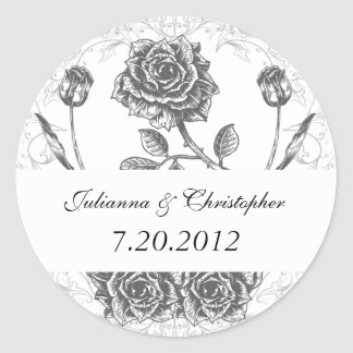 Vintage Tattoo Rose Wedding Date Seal Stickers