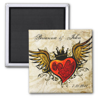 Vintage Tattoo Winged Heart  Personalized Magnet