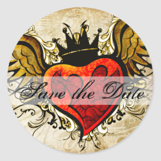 Vintage Tattoo Winged Heart Save the Date Sticker