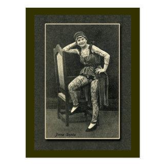 Vintage Tattooed Lady Card or Postcard