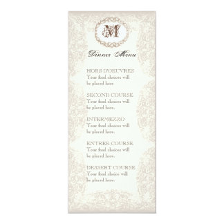 Vintage Taupe Lace - Menu or Wedding Invitation