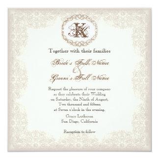 "Vintage Taupe Lace - Wedding Invitation 5.25"" Square Invitation Card"