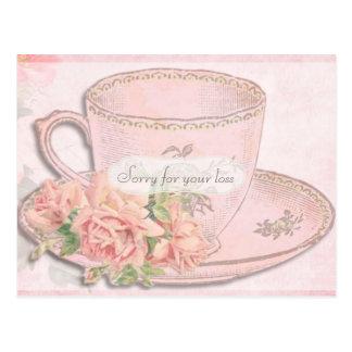 Vintage Tea Cup and Roses Sympathy Postcard