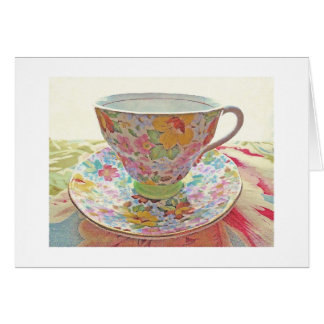 Vintage Tea Cup Blank Card-Thank You, Get Well Card