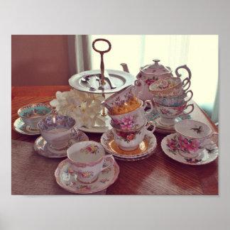 Vintage Tea Cups Poster