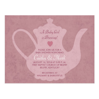 Vintage Tea Party - A Baby Girl is Brewing Invite Postcard