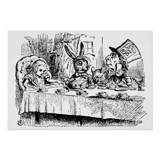 Vintage Tea Party; Alice, Hatter and March Hare Posters