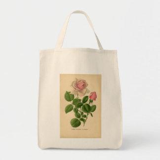 Vintage Tea Rose Organic Grocery Tote Tote Bags