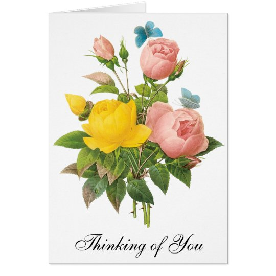 Vintage Tea Roses by Redoute, Thinking of You Card