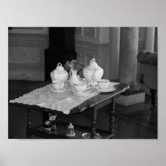 Vintage Tea Set Black And White Photograph Poster