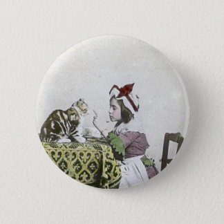 Vintage Tea Time Party With Naughty Kitty 6 Cm Round Badge