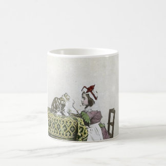 Vintage Tea Time Party With Naughty Kitty Basic White Mug