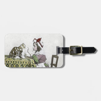 Vintage Tea Time Party With Naughty Kitty Tag For Luggage