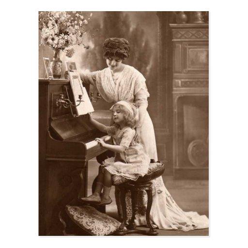 Vintage Teaching Child Piano Music Postcard