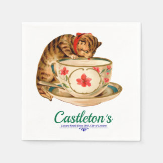 Vintage teacup and kitten poster for London store Disposable Serviettes