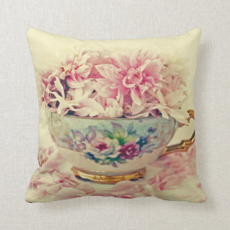 Vintage Teacup of Flowers Throw Pillow