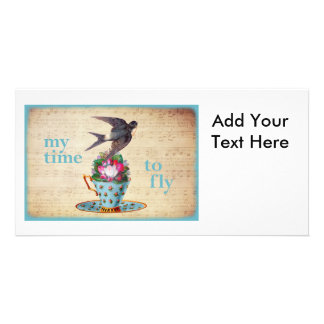 Vintage Teacup Roses and Flying Swallow Bird Photo Greeting Card