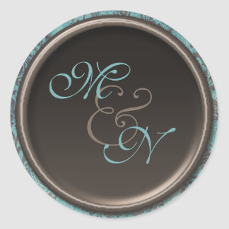 "Vintage Teal and Brown 1.5"" Diameter Round Sticker"