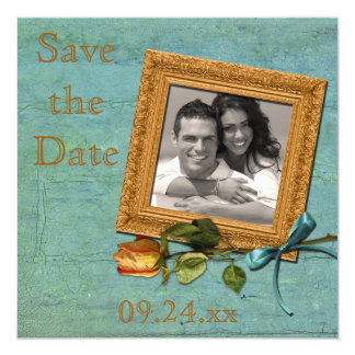 Vintage Teal and Gold Save the Date Card