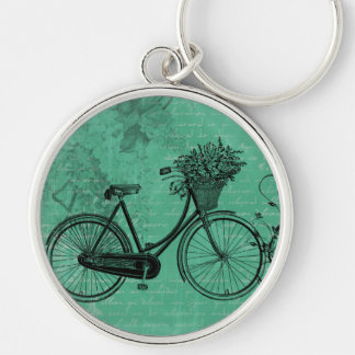 Vintage Teal Bicycle Keychain