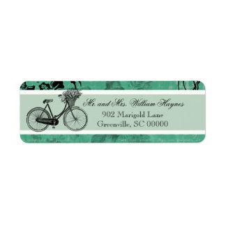 Vintage Teal Bicycle Personalised Address Labels