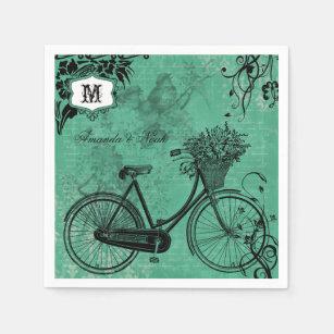 Vintage Teal Bicycle Personalised Paper  Napkins Disposable Serviette