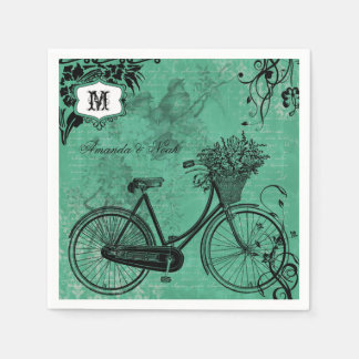 Vintage Teal Bicycle Personalized Paper  Napkins Disposable Serviette