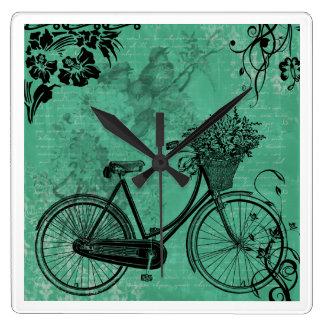 Vintage Teal Bicycle Wall Clock