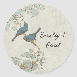 Vintage Teal Bird Wedding Seal
