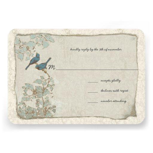 Vintage Teal Birds Damask Wedding RSVP Custom Invitations