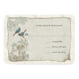 """Vintage Teal Birds Damask Wedding RSVP 3.5"""" X 5"""" Invitation Card"""
