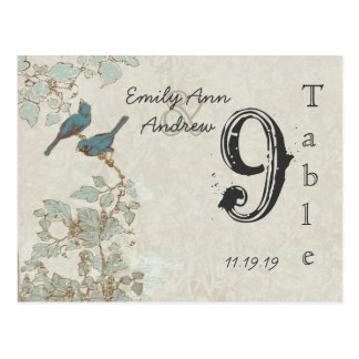 Vintage Teal Birds Damask Wedding Table Number Postcard