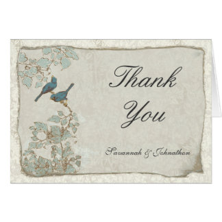 Vintage Teal Birds Parchment Damask Thank You Card