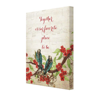 Vintage Teal Birds Red Floral Pattern Quote Canvas Print