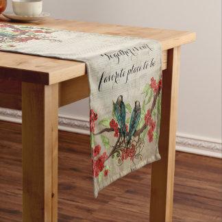 Vintage Teal Birds Red Floral Pattern Short Table Runner