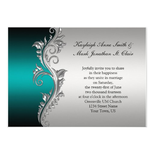 Vintage Teal Black and Silver Wedding Invitation