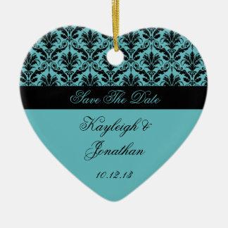 Vintage Teal Black Damask Save The Date Ornament
