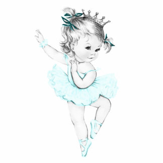 Vintage Teal Blue Ballerina Princess Baby Girl Cut Outs