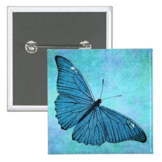 Vintage Teal Blue Butterfly 1800s Illustration 15 Cm Square Badge