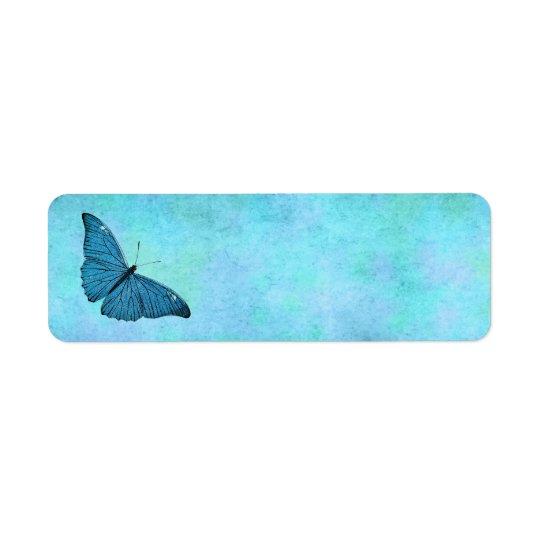 Vintage Teal Blue Butterfly 1800s Illustration Return Address Label