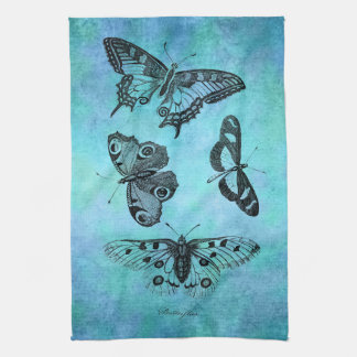 Vintage Teal Blue Butterfly Drawing - Butterflies Tea Towel