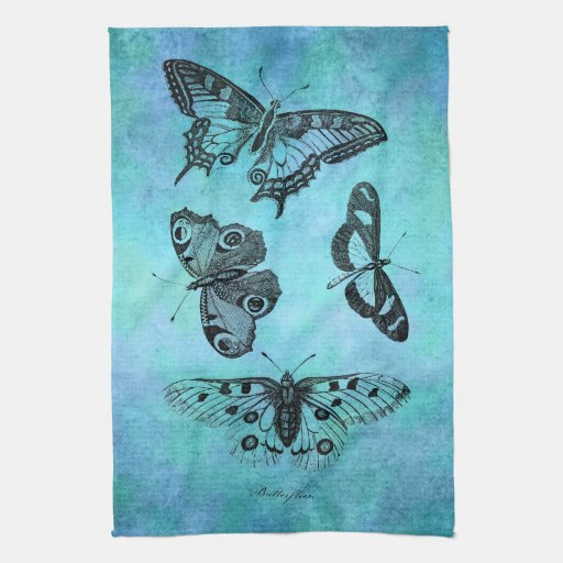 Vintage Teal Blue Butterfly Drawing - Butterflies Kitchen Towels