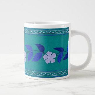 Vintage Teal Daisy Flowers Trim Jumbo Mug