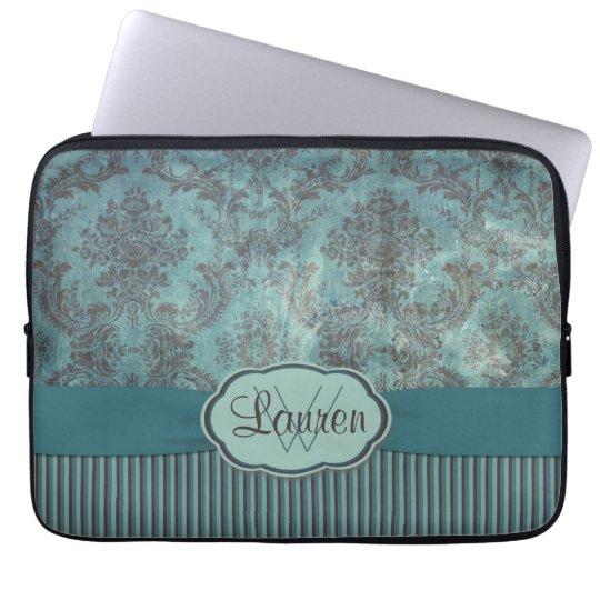 Vintage teal damask monogram laptop sleeve