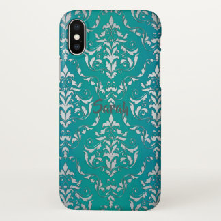 Vintage Teal Damask Personalised iPhone X Case