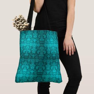 Vintage-Teal-Damask-Totes-Shoulder-Bags-Multi Tote Bag