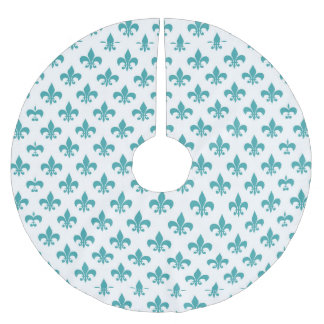 Vintage teal fleur de lis pattern brushed polyester tree skirt